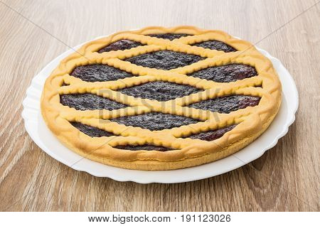 Bilberry Pie In White Glass Dish On Table