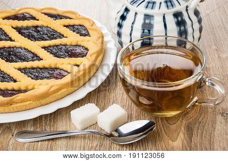 Bilberry Pie In Dish, Striped Teapot, Tea In Cup, Sugar