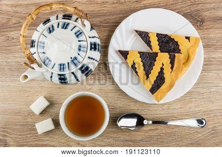 Bilberry Pie In Plate, Teapot, Cup Of Tea, Lumpy Sugar