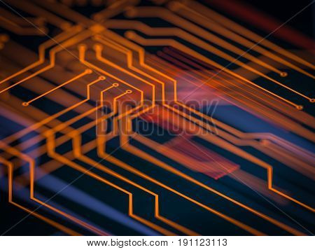Circuit board futuristic server code processing. Orange, green, blue technology background with bokeh. 3d render