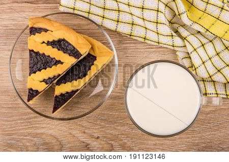 Pieces Of Bilberry Pie In Transparent Saucer, Cup Of Milk
