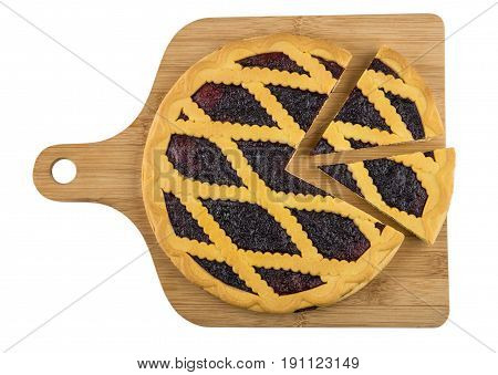 Cut Bilberry Pie On Wooden Cutting Board Isolated On White