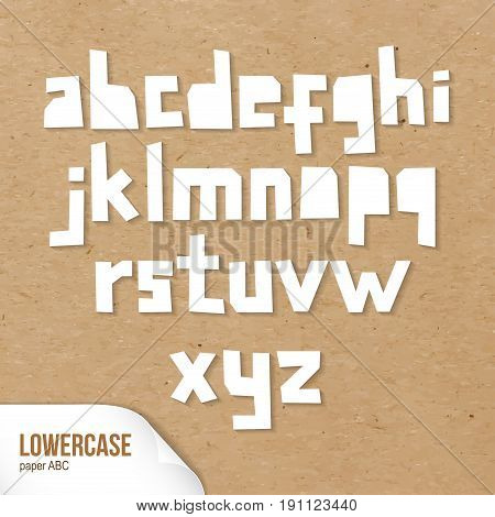 Rough lowercase characters cut out of paper. White capital letters. Vector paper ABC on cardboard background