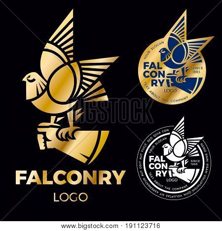 A sign of falconry is a falcon, a hawk is sitting on a gloved hand. Creative logo for the corporate identity of the company. gold falcon label. Vector logo sign concept illustration. Element of design.