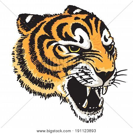 Stylised vector drawing of a tiger's face.