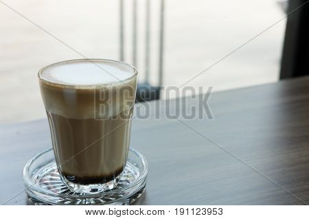 Espresso Macchiato Coffee, Hot Mocha Drink In Glass