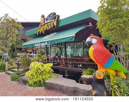 CHIANG MAI THAILAND - MAY 6 : Amazon Cafe in PTT gas station famous coffee shop chain in gas station on May 6 2017 in Chiang Mai Thailand.