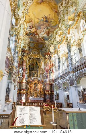 Steingaden, Germany - September 2016: Holy bible in white pilgrimage church