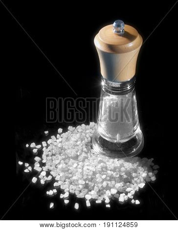 mill for salt and salt on black