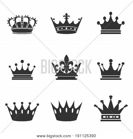 Collection of crown silhouette. Monarchy authority and royal symbols. Monochrome vintage antique icons. Crown symbol for your web site design, logo, app, UI. Vector illustration, EPS10.