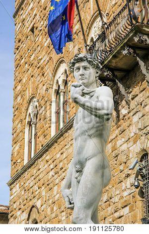 Michelangelo's David Statue in Florence with Palazzo della Signoria in background