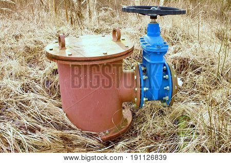 Old Expansion Pipe Of Drink Water Pipes Joined With New Blue Valve And New Blue Joint Members. New D
