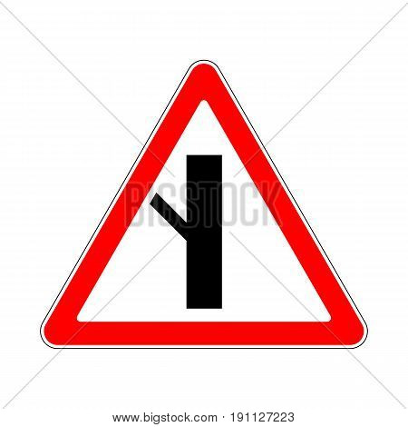 Illustration of Triangle Warning Sign. Priority Over Junction From Left