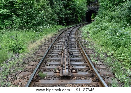Cogwheel railway line from Tanvald to Korenov in Czech republic, Europe