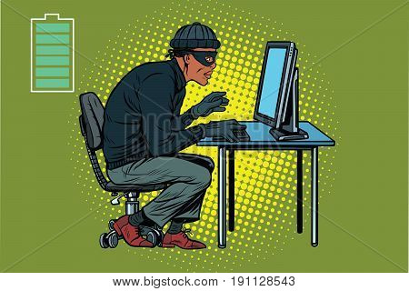 African hacker thief hacking into a computer. Pop art retro vector illustration