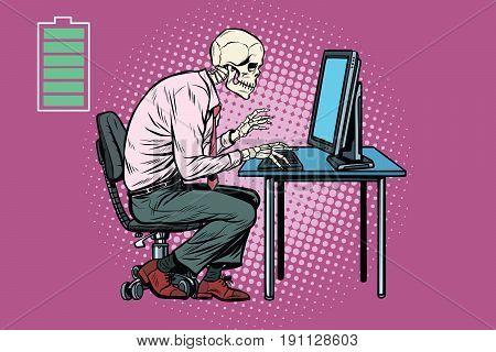 Skeleton worker working on computer. Energy for work. Pop art retro vector illustration