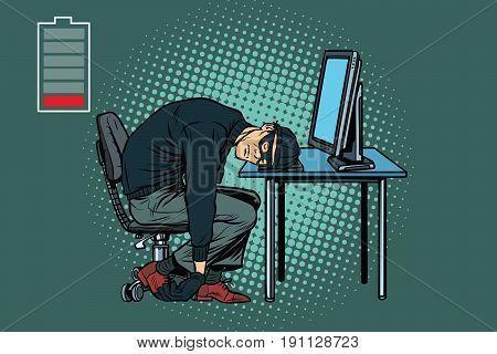 Tired hacker is asleep. Pop art retro vector illustration