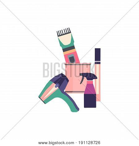 Professional hairdresser tools. Barber fashion objects set. Hairstyle haircut icons design salon. Vector hairdresser equipment collection