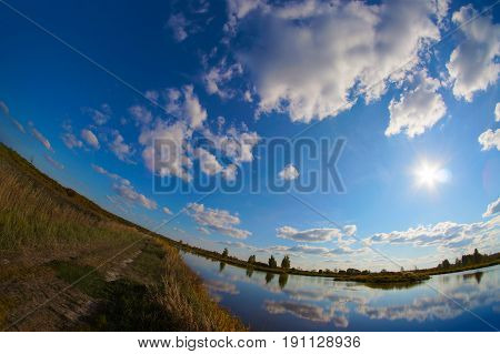 Summer landscape river and cost scenery photo made with fish eye leanse