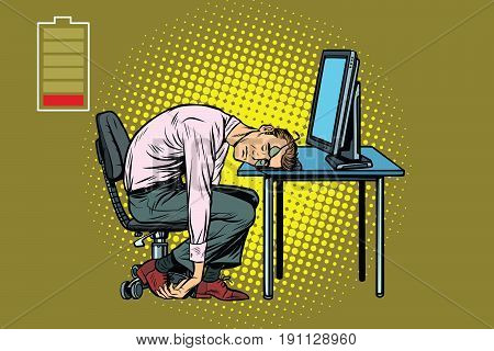 businessman sleeping at the computer. Fatigue at work. Pop art retro vector illustration