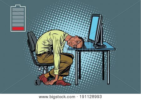 sleeping African businessman at the computer. Fatigue at work. Pop art retro vector illustration