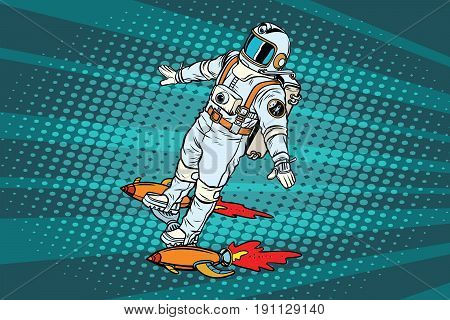 The astronaut is flying on a space rocket skateboard. Pop art retro vector illustration