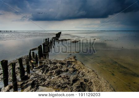 The coastal area of Northern Friesland consist of Mudflats, known as it Noarderleech, seen here during a storm.