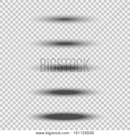 Different transparent black oval shadow set with soft edge isolated on white background. Vector divider element illustration