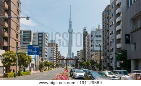 Tokyo; Japan - May 5; 2017: Cars are traveling in Sumida Street to Tokyo Skytree.