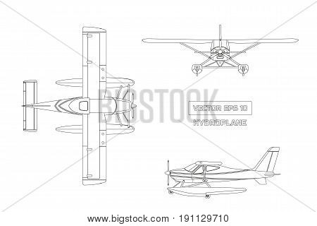 Outline drawing of plane in a flat style on a gray background. Cargo aircraft. Industrial drawing of hydroplane. Top, front and side view. Vector illustration