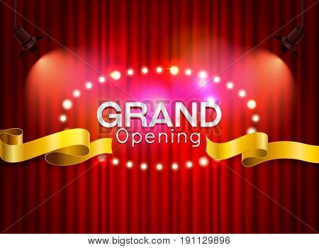 Grand opening cutting red ribbon on curtain with spot light background vector illustration