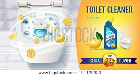 Citrus fragrance toilet cleaner gel ads. Vector realistic Illustration with top view of toilet bowl and disinfectant container. Horizontal banner.