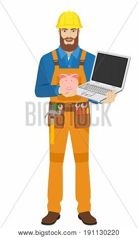 Worker with piggy bank and laptop notebook. Full length portrait of worker character in a flat style. Vector illustration.