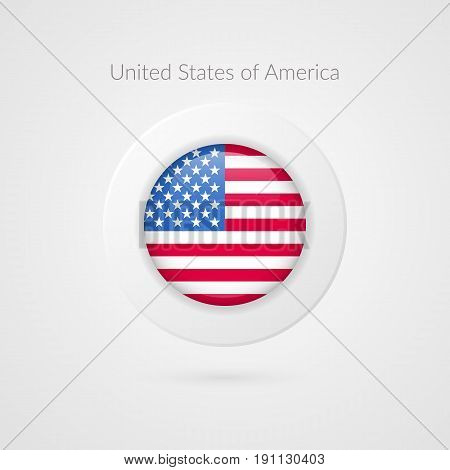 Vector United States of America flag sign. Isolated USA circle symbol. North American illustration icon for presentation project advertisement sport event travel concept web design logo badge
