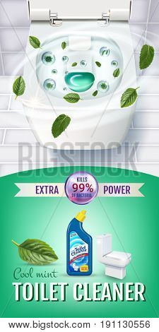 Cool mint fragrance toilet cleaner gel ads. Vector realistic Illustration with top view of toilet bowl and disinfectant container.