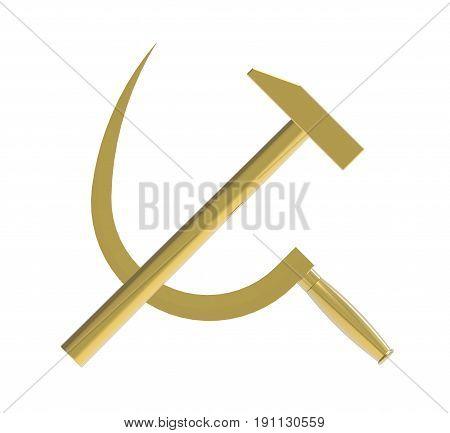 Hammer and sickle Communist symbol 3d render