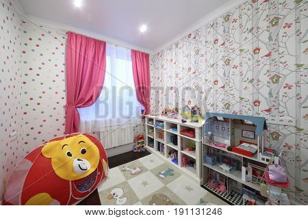 MOSCOW - JAN 20, 2017: Interior of a childrens room (with property release) for a girl