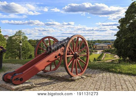 UPPSALA, SWEDEN - JULY 7, 2016: This is old cannon which is exhibited in combat order on the Western bastion of Uppsala Castle.