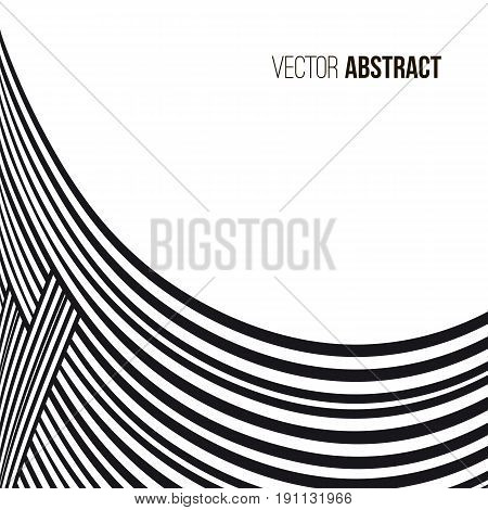 Abstract background. Black and white curve lines with frame for message.