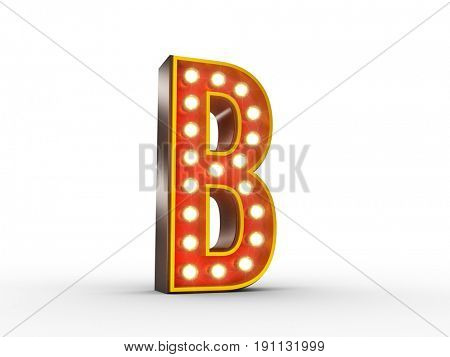 High quality 3D illustration of the letter B in vintage style with light bulbs illuminating it.