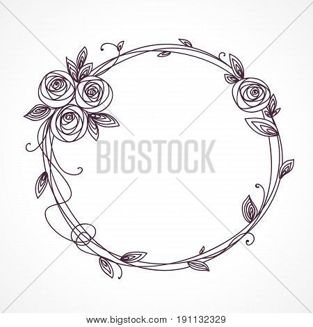 Abstract line elegant floral frame as element for wedding , birthday, valentines day and other romantic design. Wreath of rose flowers