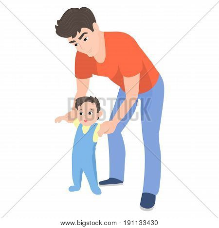 Vector cartoon father teaching his son to walk. Isolated white background. A man and a babe are beginning to walk. Toddler makes his first steps. Flat style. Dad holds the child by the hand.