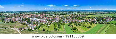 Aerial panorama of Eschau, a village near Strasbourg - Bas-Rhin, France