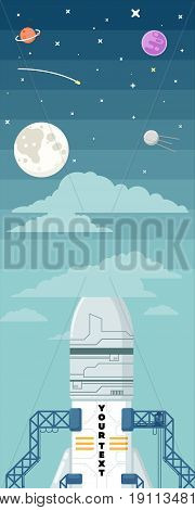 Rocket ship in a flat style.Vector illustration. Space travel to the moon.Space rocket launch.Project start up and development process.Innovation product, creative idea.Management.
