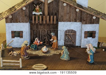 Nativity Scene With The Holy Family And An Angel With The Glory