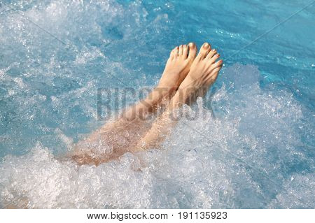 Woman In The Pool Of Spa And Whirlpool At Bare Feet