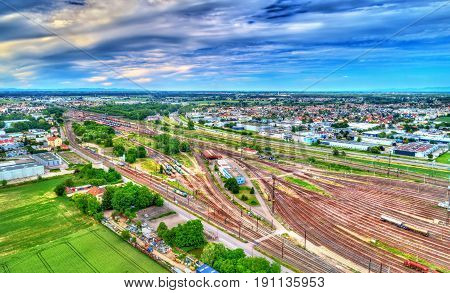 View of Hausbergen Station, a classification yard near Strasbourg - Bas-Rhin, France