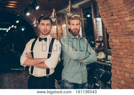 Welcome To Barber Shop! Red Bearded Handsome Young Man In A Casual Jeans Outfit And Attractive Brune