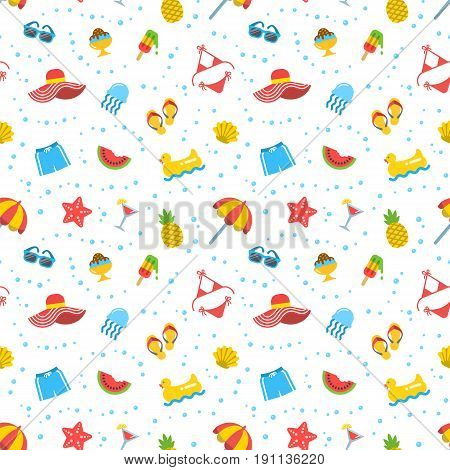 Summer beach sea vacation seamless pattern. Vector flat tileable background. Simple icons of cruise essentials on white backdrop. Wallpaper, wrapping, pack paper, fashion textile colorful design