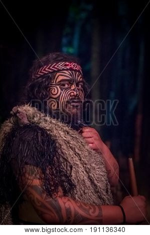 NORTH ISLAND, NEW ZEALAND- MAY 17, 2017: Close up of a Tamaki Maori leader man with traditionally tatooed face in traditional dress at Maori Culture, Tamaki Cultural Village, Rotorua, New Zealand.
